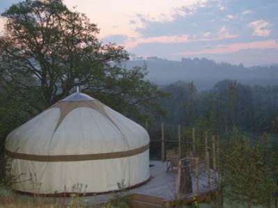 Oak Yurt with a private wood-fired hot tub!