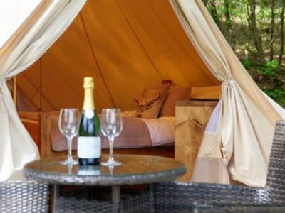 Jurassic furnished  Bell Tent at the Hideaway